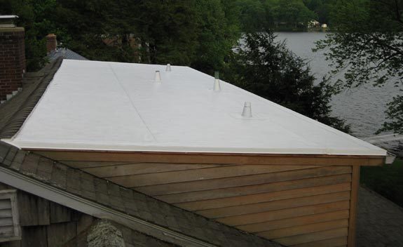 IB Flat Roofing on a shed dormer roof in Andover, CT