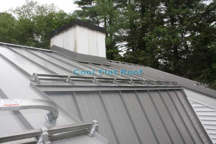 Metal roof snow retention rail system form Berger