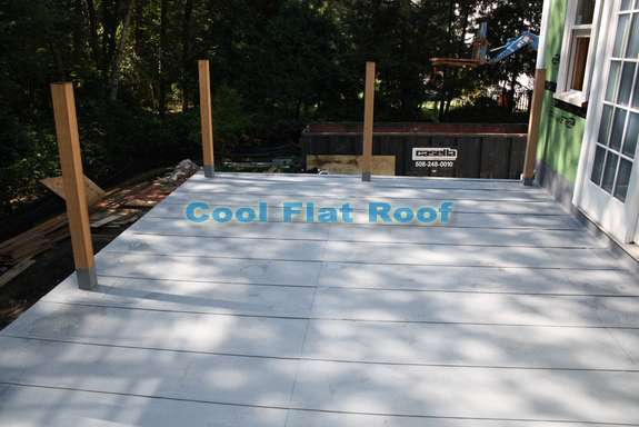 Flat roof deck in Wellesley, MA
