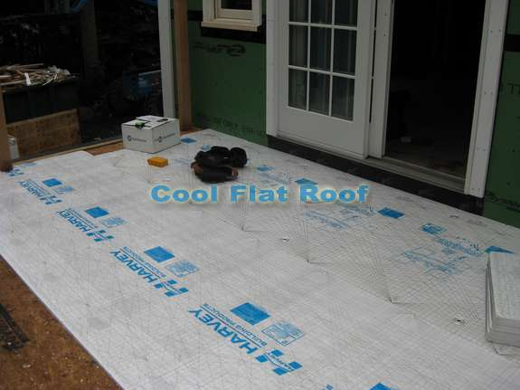 Installing insulation under the PVC roof.