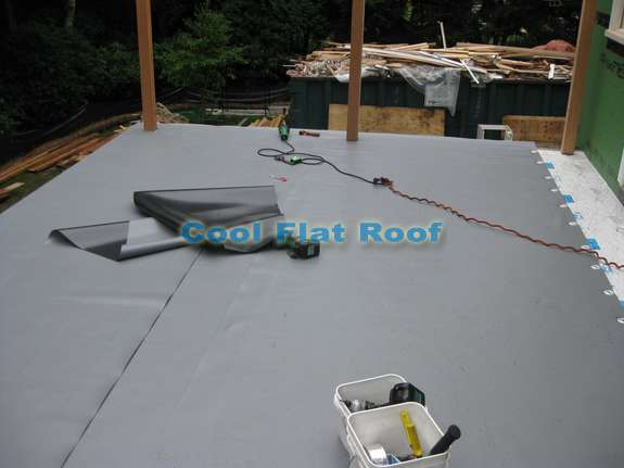 Installation of IB flat roof in Wellesley, Mass.
