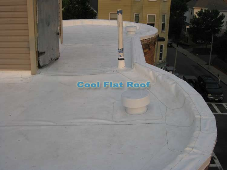 IB 80-mil white flat roof installed in Boston, MA