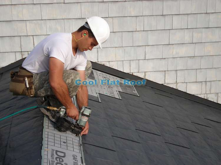 Installation of interlocking metal shingles