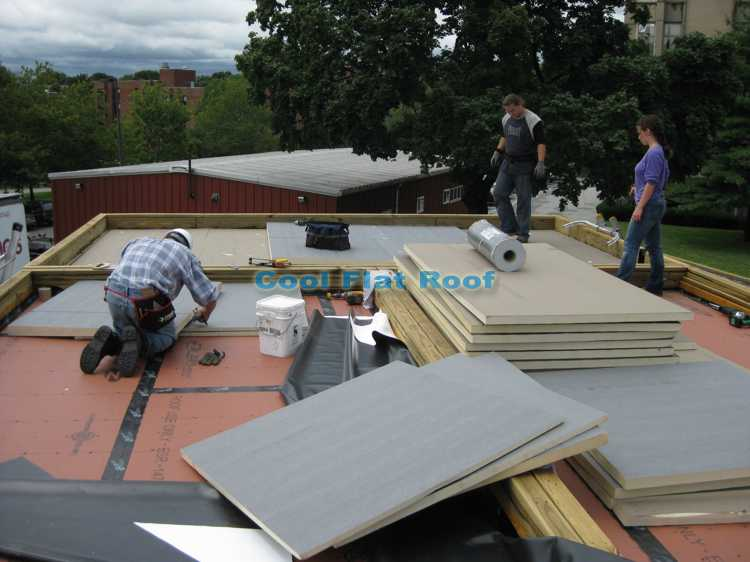 Solar home flat roof - installing insulation.