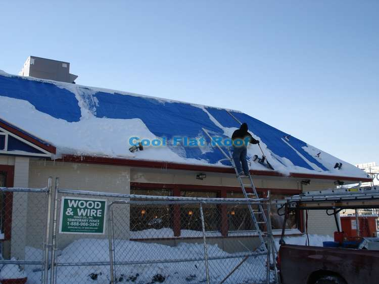 Installation of Metal Roof at IHOP restaurant in Brighton, MA