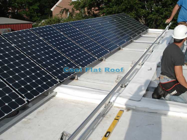 Solar flat roof of  Boston solar home in Medford, MA