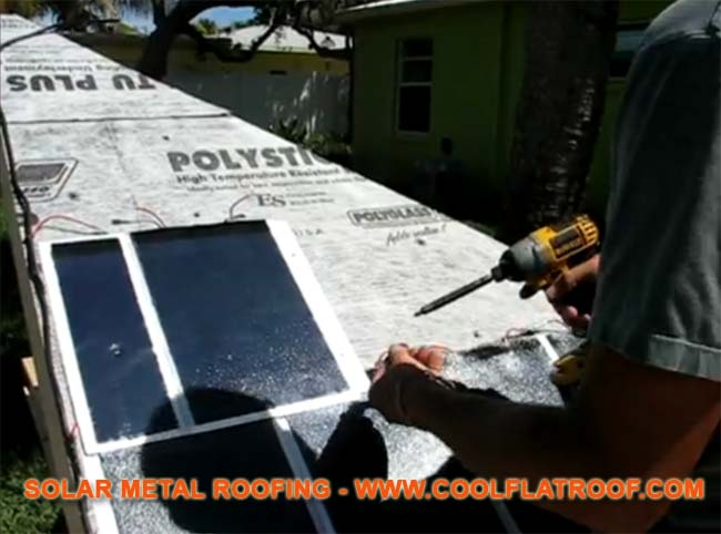 Image of Solar Metal Shingles being installed on a mock-up roof.