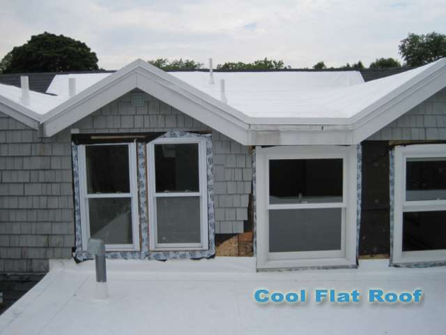 Image of Flat roofing membrane of sloped roof.