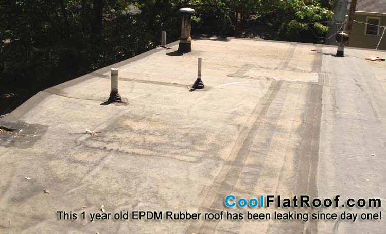 leaking rubber roof
