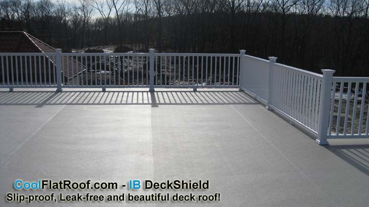 Perfect waterproofing product for flat-roof decks above living spaces.