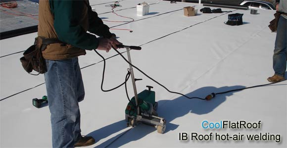 flat roof hot air welded seams