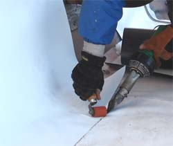 Repairing  an IB Roof is as easy as welding a patch over the damaged area - that is all! It can be done in any weather, even if your roof is wet, or when it is bellow zero degrees outside. RI, MA and CT weather is not a problem, and repair or additions to your flat roof can be done year-round!