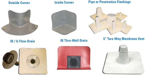 Image of PVC roof flashings and drains