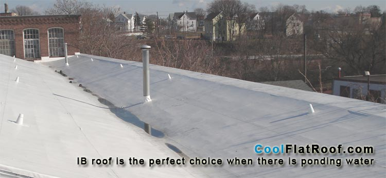 This IB roof keeps this Textile Mill in Central Falls - RI water tight, where there is constant ponding water accumulation, even with adequate drainage. IB roof is the only flat roofing system guaranteed not to leak due to standing water!