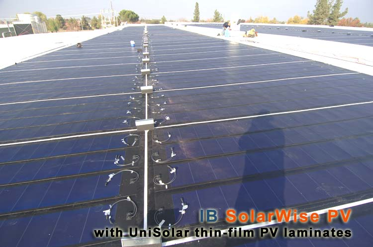 IB Solar Wise - building integrated PV systems that seamlessly installs with IB single-ply flat roofing membranes with no roof penetrations. Generate free electricity, and have your Solar PV system pay for itself in under 5 years!