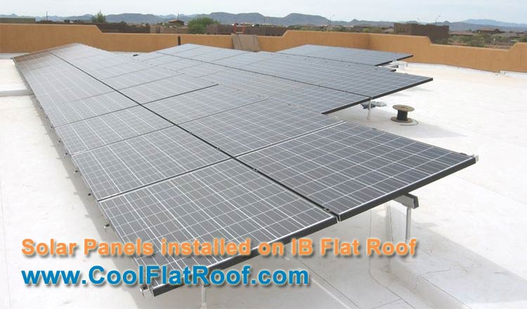 Image of unisolar thin-film pv laminates installed on a modified bitumen flat roof.