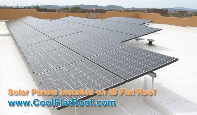 Image of unisolar thin-film pv laminates installed on a modified bitumen flat roof.
