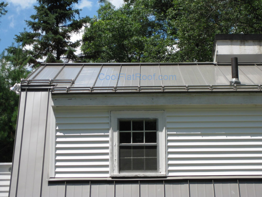Metal Roof with Stiffening Ribs & Snow Guards